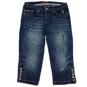 Baby Phat Jeans Capri Crop Knee Length Denim Blue